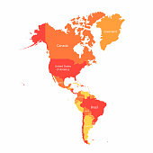 Vector South America and North America map with countries borders. Abstract red and yellow American countries on map