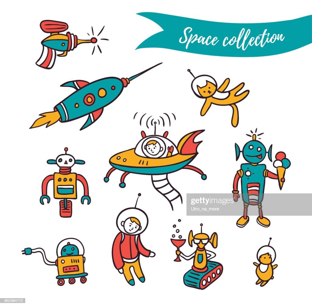 Vector space illustration - funny ufo, robots and space rockets.