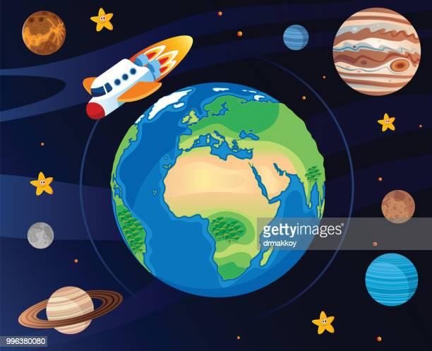 Vektor-Raumschiff und Erde