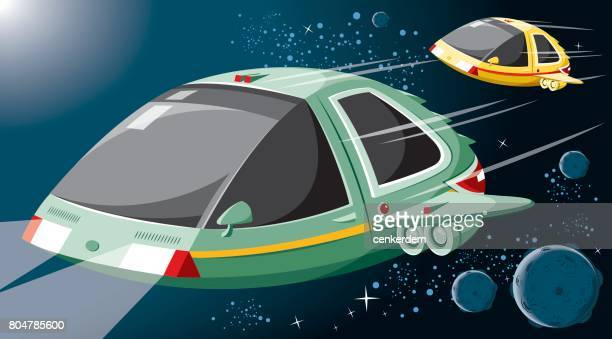 ilustrações, clipart, desenhos animados e ícones de nave espacial do vetor - imaginação