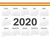 Vector Spanish circle calendar 2020.
