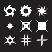 Vector sparkles icon set. Star collection. Lens or glass flare. Stars glitter, stellar flare.