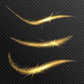Vector sparkling confetti wave. Stardust glitter bright trail