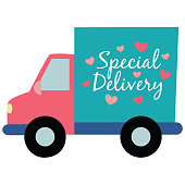 Vector Special Delivery Truck Hearts Illustration Graphic