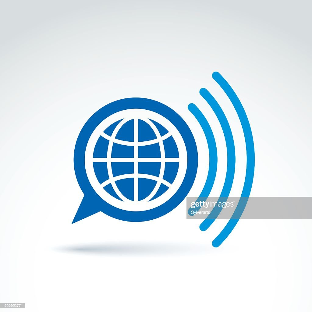 Vector speech bubble with earth illustration, global mass media