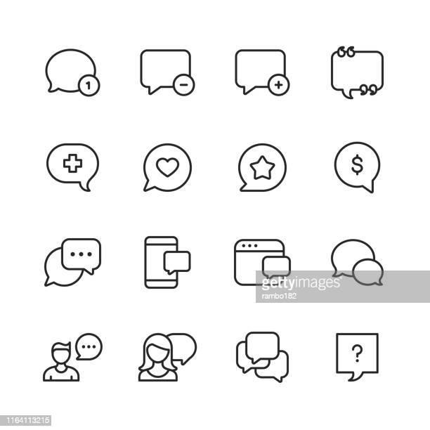 illustrations, cliparts, dessins animés et icônes de bulles de discours vectoriels et icônes de ligne de communication. accident vasculaire cérébral modifiable. pixel parfait. pour mobile et web. - réseau social