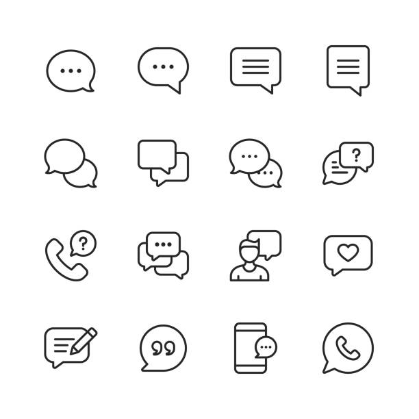 vector speech bubbles and communication line icons. editable stroke. pixel perfect. for mobile and web. - bubble stock illustrations