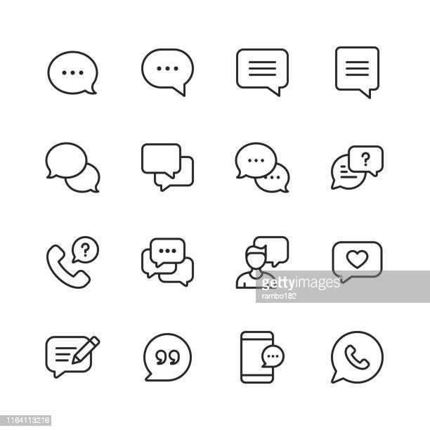 vector speech bubbles and communication line icons. editable stroke. pixel perfect. for mobile and web. - speech stock illustrations
