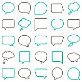 Vector Speech Bubbles Line Color