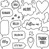 Vector speech bubbles with phrases Blogger, Blog, Love, follow me, Idea, Hello, Lets's talk, Thank you. Hand drawn blog labels, social media icons set.