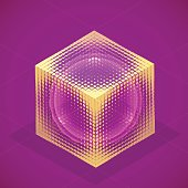 Vector sphere in cube isometric hologram. Abstract geometric fla