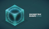 Vector sphere in cube isometric hologram. Abstract geometric flat shape
