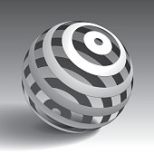 Vector sphere striped volume form, abstract shape