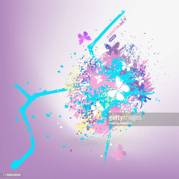 vector splash background with stains and butterflies