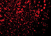 Vector splatter of blood in red color on black background. Bloody explosion on black background. Grainy blood texture blow. Red watercolor spray, drop on black background. Vector illustration. EPS 10.