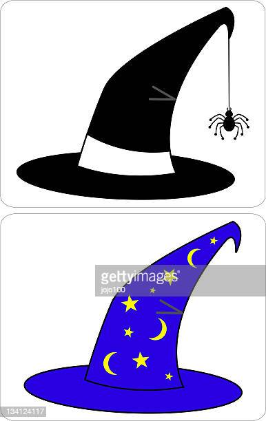 vector spooky witches & wizards hats - wizard stock illustrations, clip art, cartoons, & icons