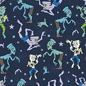 Vector Spooky Zombies Halloween Seamless Pattern. Isla Vista California. Epic