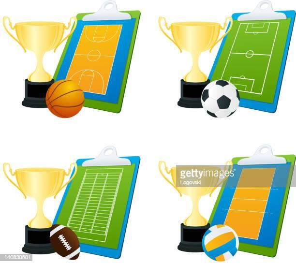 ilustraciones, imágenes clip art, dibujos animados e iconos de stock de vector de iconos de deporte - cancha futbol