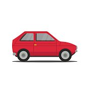 Vector sports red car side view illustration