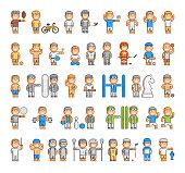 Vector sports set of pixel people
