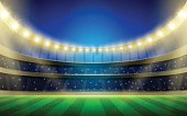 Vector sports stadium illustration with grass field, stands and lights.