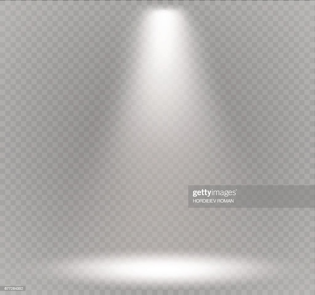 Vector spotlight. Light effect.Scene illumination, transparent effects on a plaid dark background