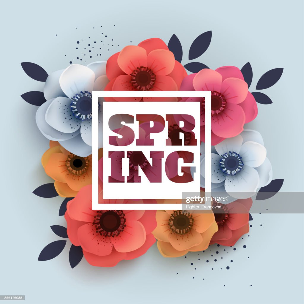 Vector spring banner with the text and paper flowers anemones.