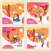 Vector square cards with young girls riding bycicle, doing youga, jumping with skipping rope and jogging.