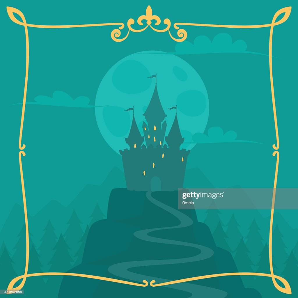 Vector square cartoon background with castle on the hill