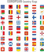 Vector Square Europe National Flags