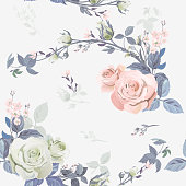 Vector square floral seamless pattern, branch curly pink rose, bouquet garden flowers, buds, leaves on white background, illustration for fabric, wallpaper, wrapping, pastel colored, vintage