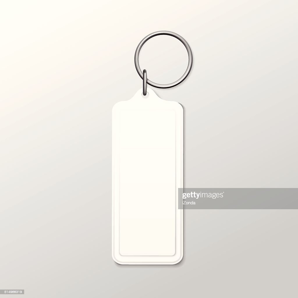 Vector Square Keychain with Ring and Chain Isolated on White