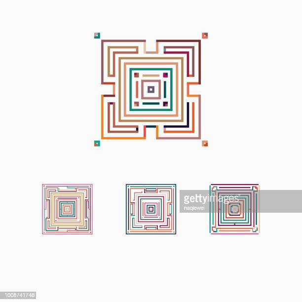 vector square pattern icon collection - home decor stock illustrations, clip art, cartoons, & icons