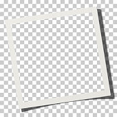 Vector square photo frame placed on transparen background with soft shadow. Template photo paper mock-up.