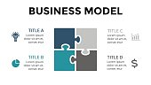 Vector square puzzle infographic, cycle diagram, graph, presentation chart. Business model concept with 4 options, parts, steps, processes. 16x9 slide