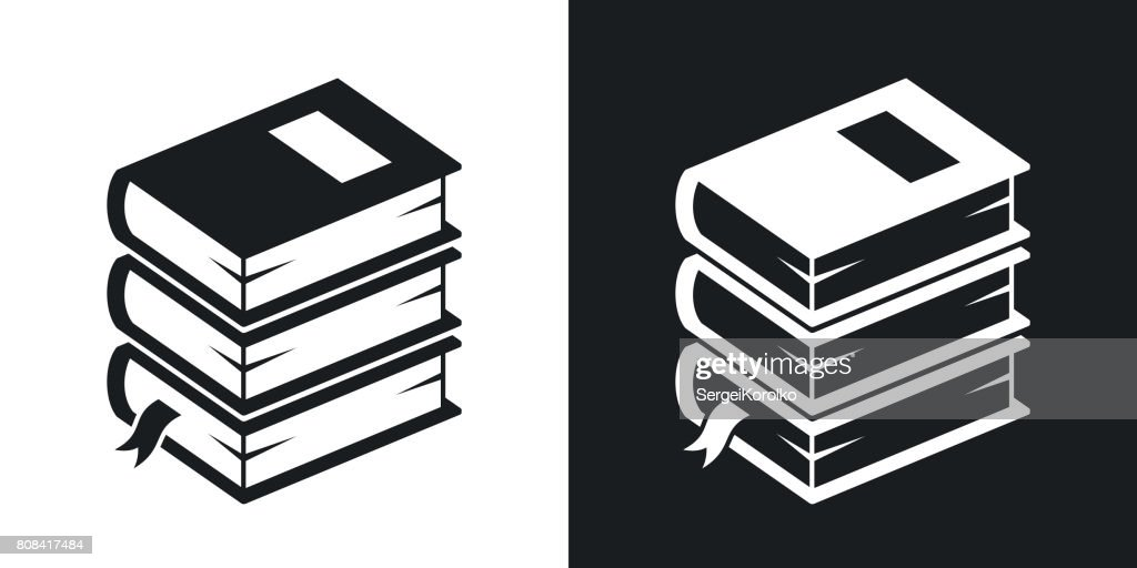 Vector stack of books icon. Two-tone version