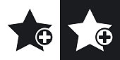 Vector star favorite icon with plus glyph. Two-tone version