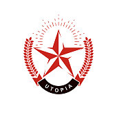 Vector star symbol composed using laurel wreath. Totalitarianism as the evil power, ideological propaganda.