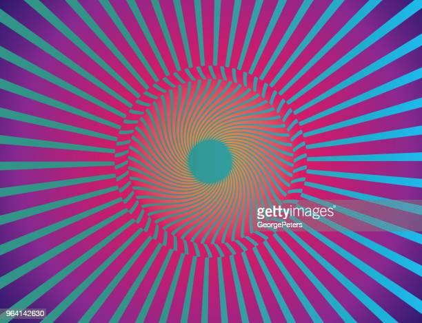 ilustrações de stock, clip art, desenhos animados e ícones de vector starburst halftone pattern background - op art