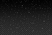 Vector starry sky, snow particles on transparent background