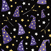 Vector Starry Wizard Hats Seamless Pattern Background