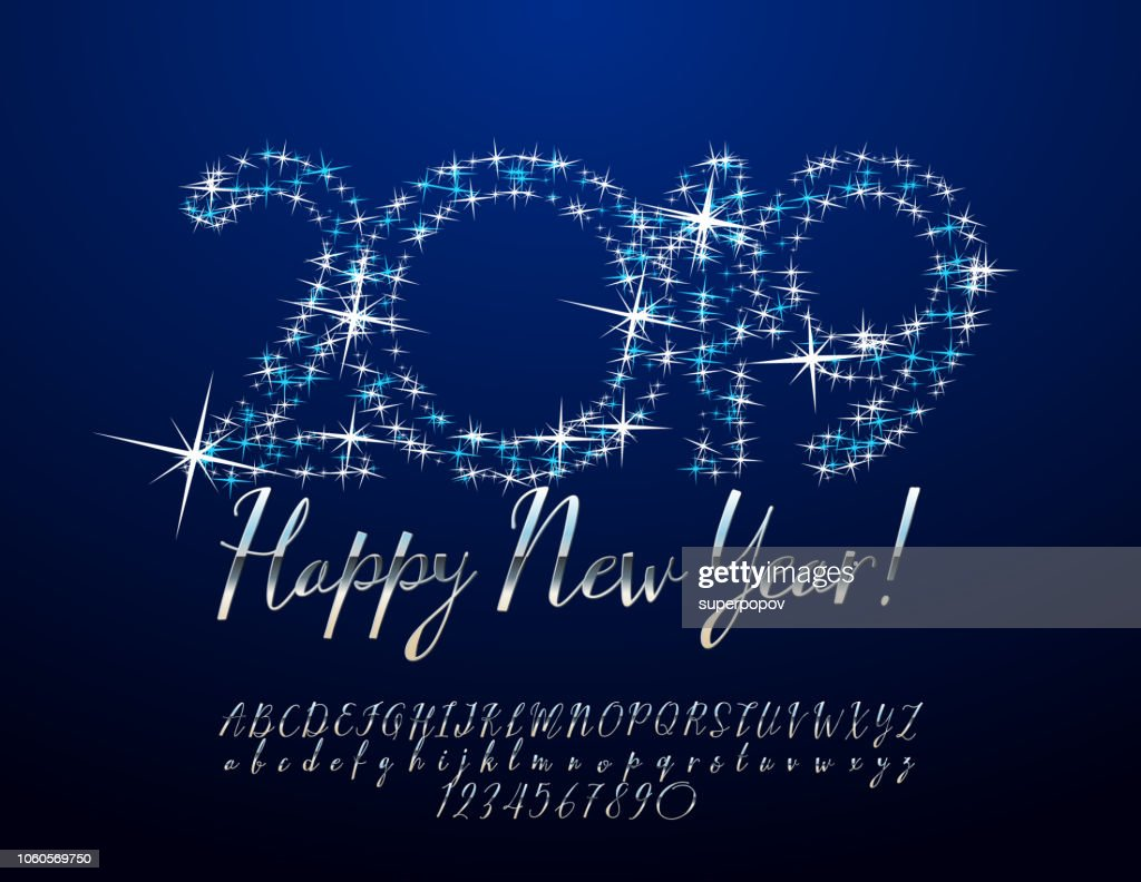 Vector Stars Greeting Card Happy New Year 2019 with Fairy Alphabet
