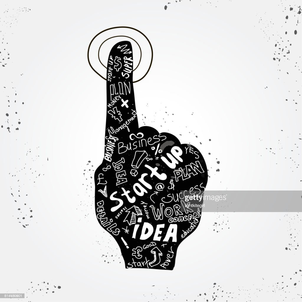 Vector start up concept - business simbol with hand