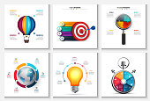 Vector startup, research, creative, earth and time infographics. Business report with 4, 5, 6 and 7 options, parts, steps processes. Balloon, bulb, target, stopwatch and magnifier.