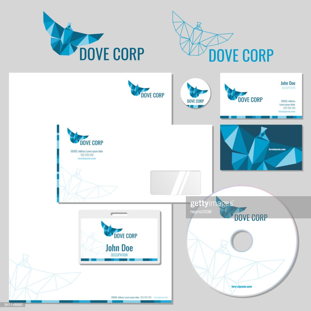 Vector stationery template desig with origami pigeon logo. Corporate identity