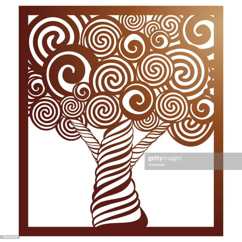 Vector Stencil Tree In Square Frame With Carved Openwork Pattern ...