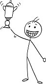 Vector Stick Man Cartoon of Happy Man Holding a Trophy Winning Cup