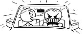 Vector Stickman Cartoon of Crazy Car Driver and Scared Front Seat Passenger