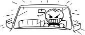 Vector Stickman Cartoon of Mad Car Driver