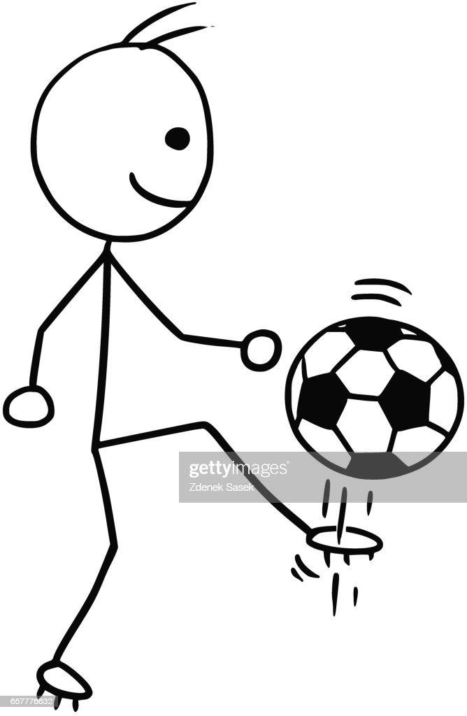 Vector Stickman Cartoon of Soccer Football Player Kicking the Ball